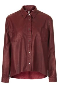 burgundy leather shirt