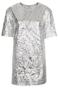 silver foil dress