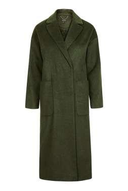 topshop green longline coat