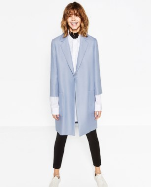 zara blue coat