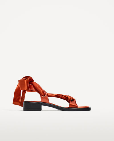Zara satin lace up sandals