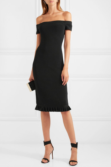 Michael Kors Off the Shoulder Ribbed Stretch Knit Dress